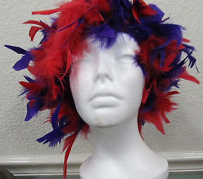 Feather Wigs Red and Purple Feathers Nylon Hat Base