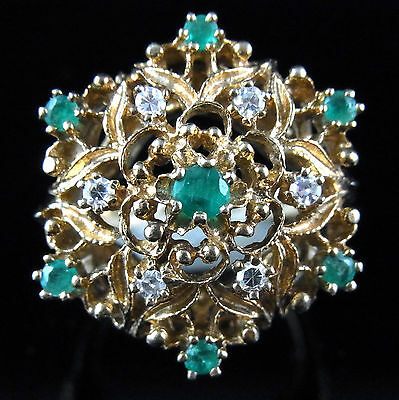 Vintage Diamonds & Emeralds 14k Yellow Gold Large Cocktail Ring Mid Century