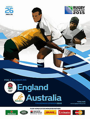 ENGLAND v AUSTRALIA RUGBY WORLD CUP 2015 OFFICIAL PROGRAMME, 3 Oct Twickenham