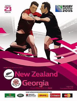NEW ZEALAND v GEORGIA RUGBY WORLD CUP 2015 OFFICIAL PROGRAMME, 2 Oct Cardiff