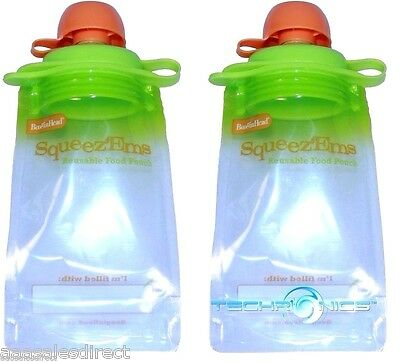 2 Pack Booginhead Squeezems Travel Easy Fill Safe Bpa Free Reusable Food Pouches