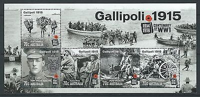 Australia 2015 Gallipoli 1915  Miniature Sheet Unmounted Mint