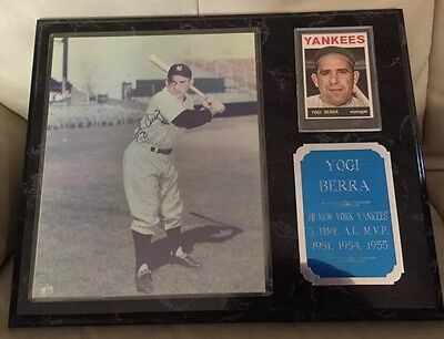 Yogi Berra Signed Photo 1964 Card Plaque NY Yankees Cooperstown COA Autograph