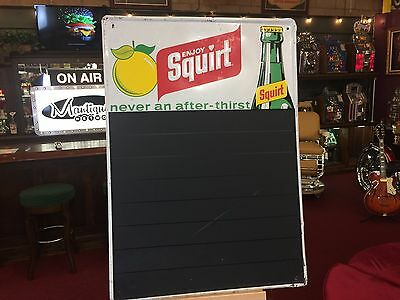"1970's SQUIRT Soda Cola Tin Embossed Advertising Menu Sign 20"" x 28"" See Video"