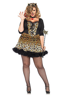 Sexy Leg Avenue Leopard Wildcat Kitty Cheetah Halloween Costume Plus Size 1X/2X
