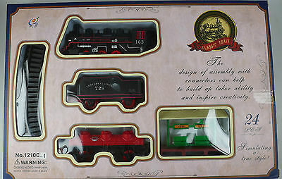 Toy Steam Train Setwith  Light Track Station And Trees Included 24 Pieces 1Oc-1