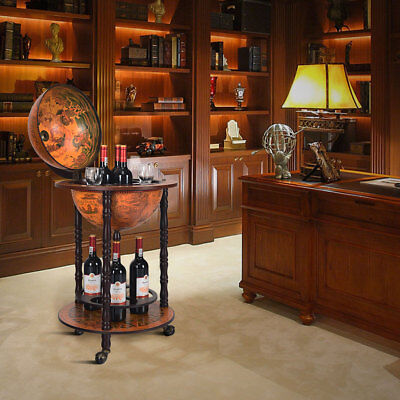 Wood Globe Drink Cabinet Wine Bar Minibar Beverage Stand Bottle Italian 330Mm