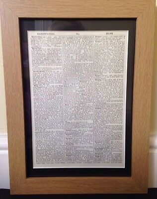 Oak Wood Picture Frame With Black Mount To Fit Our Vintage Dictionary Prints