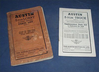 Parts List 555A, Austin 5 Ton Lorry & Supplement (Eaton 2-speed), Fair condition