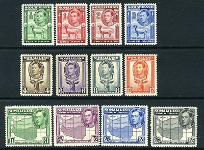 SOMALILAND-1942 Set to 5r.   A mounted mint set Sg 93-104