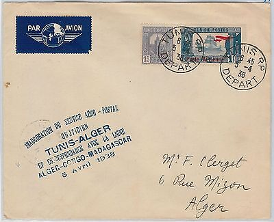 AIRMAIL 1st FLIGHT COVER - TUNISIA : Tunis / Alger 1938 Muller 44