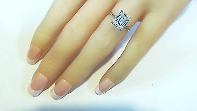 Emerald Cut Solitaire Engagement  Ring 2.00 Ct  Solid 14K White Gold #4504