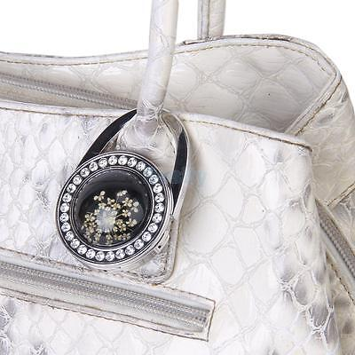 Black Pressed Flower Rhinestone Folding Handbag Purse Hanger Holder Table Hook