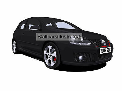 Vw Golf Gti Mk5 Graphic Car Art Print Picture (Size A4). Personalise It!