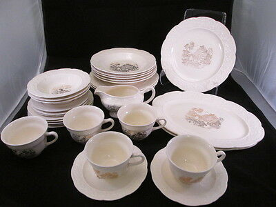 KNO308 Edwin Knowles Gold Willow Design Embossed Rim Dish Set 29 Pieces