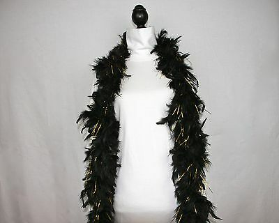 BLACK w/GOLD TINSEL Feather Boas Chandelle 6 Feet 60 gram Best Price on eBay