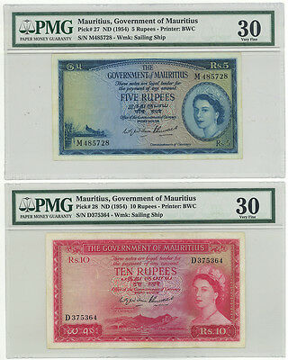 Government of Mauritius 5 and 10 Pounds pick 27 & 28 PMG 30