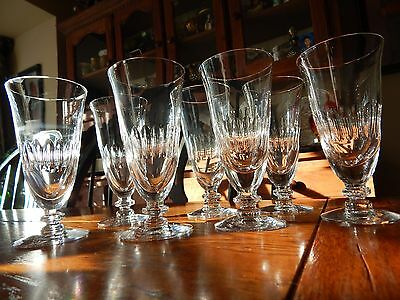 7 Tiffin-Franciscan Silhouette Clear Crystal Footed Juice Glasses Set