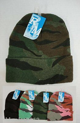 Bulk lot 12 Assorted Camoflauge Camo Winter Knit Toboggan Beanie Hats 4 Colors