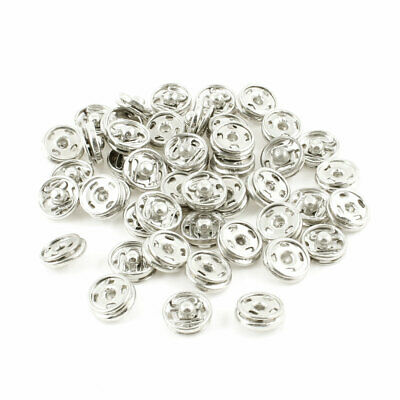 Silver Tone Metal 10mm Trousers Coat Invisible Press Studs Buttons 45 Pcs