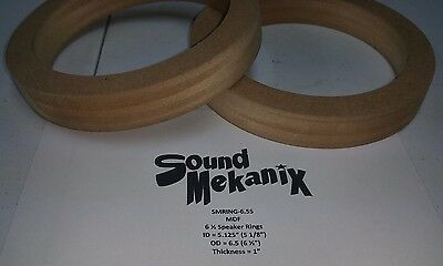 """MDF Speaker / Spacer Rings, 6 1/2"""" SMALL Size 1"""" Thick One Pair Made In USA"""
