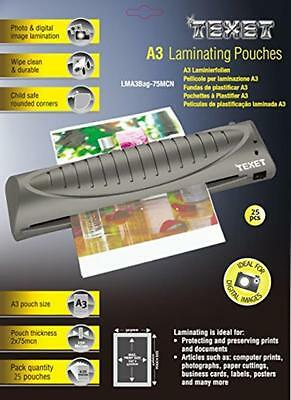 NEW Texet A3 laminating pouches (2 x 125 microns)