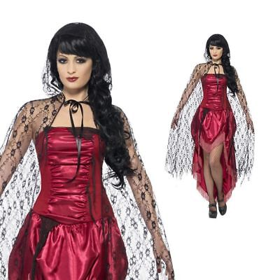 Gothic Lace Cape Halloween Vampire Adults Ladies Womens Fancy Dress Black