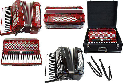 BRAND NEW AIDI 120 Bass Accordion - Full range of notes and voices! IN RED