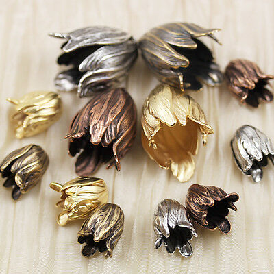*Pick Your Style* Big or Small  Vintage Look Brass Tulip Flower Cap / Pendant