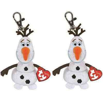 TY BEANIE 2 x OLAF THE SNOWMAN DISNEY FROZEN SPARKLE KEYCHAIN WITH SOUND BNWT