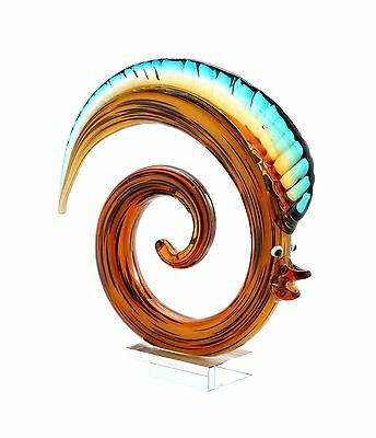"New 9"" Hand Blown Art Glass Fish Figurine Sculpture Statue Abstract Amber Blue"