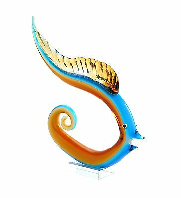 "New 14"" Hand Blown Art Glass Fish Figurine Sculpture Statue Blue Amber"