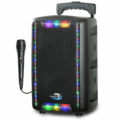 "Dolphin SP-800BT Portable 8"" Bluetooth Speaker with Trolley, Lights & Microphone"