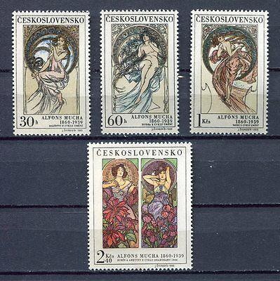 32937) CZECHOSLOVAKIA 1969 MNH** Paintings by Mucha 4v