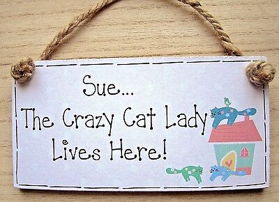 "PERSONALISED CRAZY CAT LADY/pet kitten handmade wooden shabby chic 6x3"" plaque"