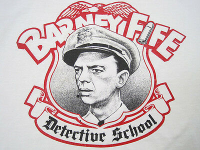 HILARIOUS!! vintage BARNEY FIFE detective school T SHIRT mayberry LARGE