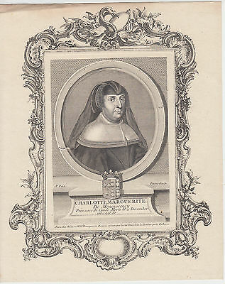 c.1750 engraving of Charlotte Marguerite de Montmorency by Pinssio