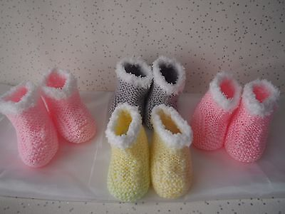 Hand knit baby booties boys/girls *Cool Colours* 0-3m/3-6m snowflake trim