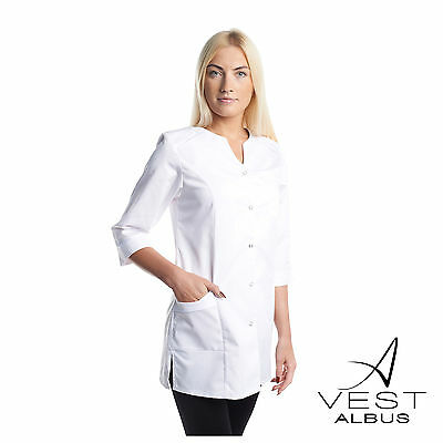 Lab Coat Medical White Woman Pharmacist Stylish Nurse Scrubs Doctor Gown Jacket