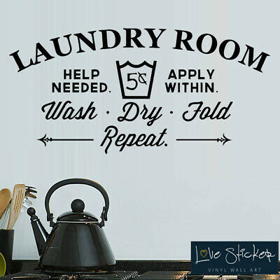Laundry Room Washing Kitchen Quote Wall Art Stickers Decals Vinyl Decor Room Hom