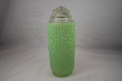 Vtg Deco Green Clear Glass Globe Light Cover Sconce Tiered Wedding Cake Bamboo