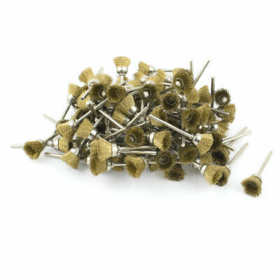 100 Pcs Gold Tone 3mm Shank Stainless Steel Cup Polishing Brush for Rotary Tool