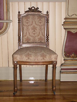 Set Of 4 Antique French Empire Satinwood Side Chairs