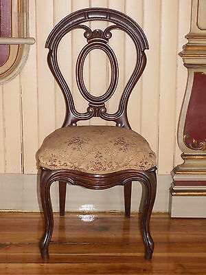 Set Of 4 Victorian  Walnut Balloon Back Side Chairs