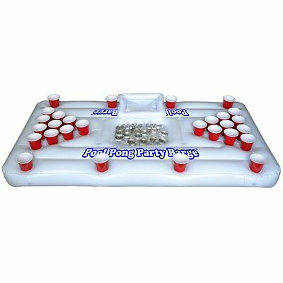 GoPong Pool Party Barge Floating Beer Pong Table with Cooler,White,6-Feet ,PB-01