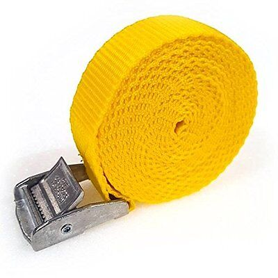 3 Buckled Straps 25mm Cam Buckle 2.5 meters Long Heavy Duty Load Yellow 250kg