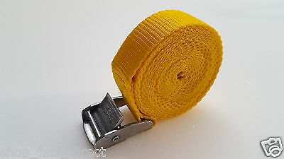 4 Buckled Straps 25mm Cam Buckle 5 meters Long Heavy Duty Load Yellow 250kg