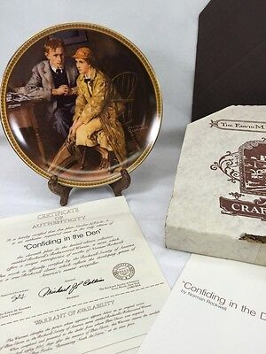 Confiding in the Den Norman Rockwell's Rediscovered Women Collection Plate NIB