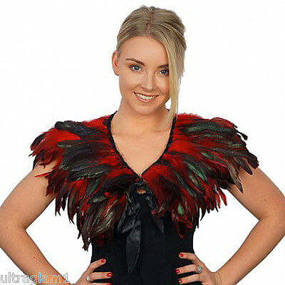 Red-Black Rooster Coque Feather Neckline Collar/cape/boa/trim/costume/drag Queen