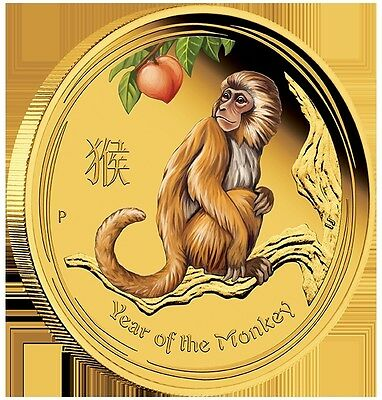 2016 $100 Australian Lunar Series-Yr of the Monkey-1 oz Coloured Gold Pr Coin-PM
